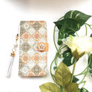 【pajour 】( オレンジ )イズニックタイル柄 手帳型 スマホケース【iPhone】【手帳】【タイル柄】