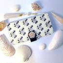 ( ネイビー ) フラミンゴ ×パームツリー柄手帳型スマホケース