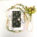 (pajour) モノトーンブラック色ミモザ柄手帳型スマホケース 【秋冬 】【花柄】【黒】