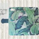 【pajour 】( リーフ ) ビジュー無しヤシの木柄 手帳型 スマホケース【iPhone】【手帳】【パームツリー柄】
