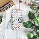 シェブロン×ヴィンテージフラワー 柄 手帳型 スマホケース【iPhone】【手帳】【三角】【pajour 】【花柄】