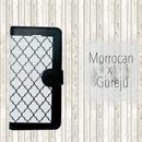 【pajour 】ビジュー無し グレージュ モロッカン 柄 手帳型 スマホケース【iPhone】【手帳】【モロッカン】