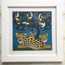 TINGATINGA  African Art (ティンガティンガ) 「チーターの家族とアフリカの鳥~ブルー~」ルーカス