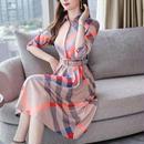 ワンピース レディース 韓国ファッション チェック クロスライン  ひざ下 ミモレ丈 カーキ アプリコット S M L