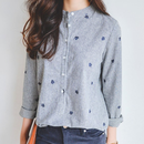 standcollar stripe shirt