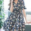 花柄 Vネック ワンピース ドレス お洒落なレトロ調  ミニスカート