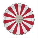【MeriMeri】ペーパープレート/大 8枚入り/レッドストライプ [45-1405]