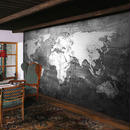 カスタム壁画壁紙 レトロスタイル 世界地図壁紙 研究 リビングルーム ソファ テレビ 背景 512 7/17