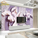 3D レリーフパープルマグノリア 寝室 テレビ 背景壁紙 リビングルーム 不織布壁画壁紙 511 7/17
