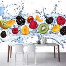 カスタム壁絵画 新鮮なフルーツ写真壁紙 レストラン リビングルーム 台所 背景壁画 不織布壁紙 505 7/17