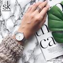 Sk スーパースリムスライバー ステンレス鋼腕時計 女性 トップブランド 高級カジュアル時計レディース腕時計 115