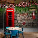 カスタム 壁紙 ロンドン 電話ボックス ローズ 3D 壁画 カフェ レストラン リビングルーム 背景 537 7/17