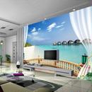 カスタム壁画 壁紙 3D ビーチ シービュー壁絵画 リビングルーム ソファ 寝室 517 7/17
