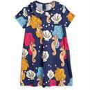 【 mini rodini 2019SS 】50127  Seahorse collar ss dress / Navy
