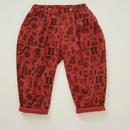 【 eLfinFolk 2018AW 】elf-182F05 alphabetic print pants / brick red / 80-100cm