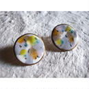 【Circle earrings gray,yellow,white,green】[PEKI!RARIGON]