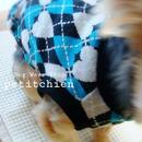犬服★完成品【ジャガードハート】ブルー胴回り30cm