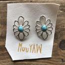 muuyaw silver flower Turquoise pierce