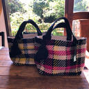 wool check tote