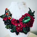 Ribbon  necklace -green×pink  flowers 201807-