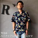 """TESS """"パイナップル柄オープンシャツ"""" Navy"""