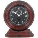 【USA直輸入】アンティーク レッド メタル ラウンド テーブル クロック 時計 置き時計 アメ雑 インテリア