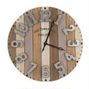 【USA直輸入】縦縞 ウッド パレット ウォール クロック 木製 時計 掛け時計 アメ雑 インテリア