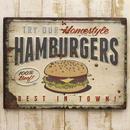 ★【Antique Emboss Plate】 レトロ調 ★ レクトエンボスプレート★ハンバーガーHumburgers★
