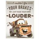 【USA直輸入】DISNEY カーズ メーター LOUDER ブリキ看板  エンボス加工 ブリキ 看板 メタルサイン ポスター   壁掛け インテリア CARS