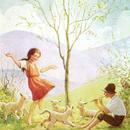 ◆M.W.Tarrant 羊飼いの笛に合わせて踊る少女◆アンティークポストカード