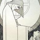J.Speybrouck☆キリストと祈りを捧げる人☆アンティークポストカード
