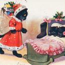 ◆子猫たちにプレゼントを届ける猫のサンタさん◆アンティークポストカード