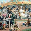◆フランス Au bon marché アンティーククロモス◆メリーゴーランドに乗る可愛い動物たち