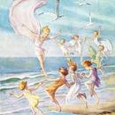 ◆M.W.Tarrant カモメと戯れる妖精たち◆アンティークポストカード
