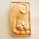 JJ ヴィンテージブローチ 箱にすっぽりはいった猫 GOLD