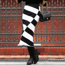 【pour Mademoiselle】ボーダーニットタイトスカート ブラック/ホワイト