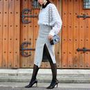 【FALL WINTER COLLECTION】グレンチェックタイトスカート ブラック グレー