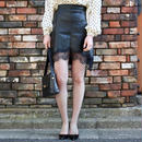 【pour Mademoiselle】レザーフラワーレーススカート