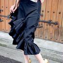 【SPRING SUMMER COLLECTION】アシンメトリーフリルスカート ブラック