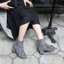 【pour Mademoiselle】ツイードハウンドトゥースチェックショートブーツ