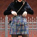 【pour Mademoiselle】ツイードマルチカラーミニスカート ネイビー
