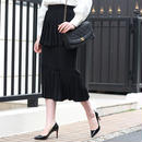 【pour Mademoiselle】プリーツロングスカート ブラック