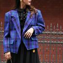 【GIVENCHY】チェックパターンツイードジャケット ブルー