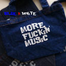 TOTEBAG DENiM 13.0oz - MORE FUCKiN' MUSiC - #BLUE x WHiTE -
