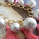 Statement Necklace :cotton pearls