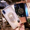 【即納】iPhoneケース クリア ビジュー リング付き スケルトン サイド カラー ラインストーン ストーン ビジューストーン 7 7plus 7プラス 8 8plus 8プラス X XS 韓国