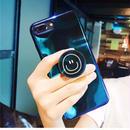 【即納】iPhoneケース スマイル リング付き  バンカーリング リングホルダー 落下防止 6 6s 7 7プラス 8 8プラス X XS アイホンケース 韓国 ブルー ソフトケース ソフト