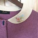【1点物】flower collar Cardigan  beige collar
