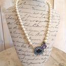 cotton pearl bijou pendant blue x purple flower