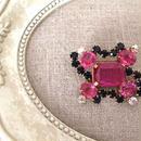 bijou brooch ④  pink x black